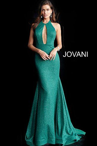 59e04ba6 Hunter Backless Halter Neck Glitter Prom Gown 64851 in 2019 | Jovani ...