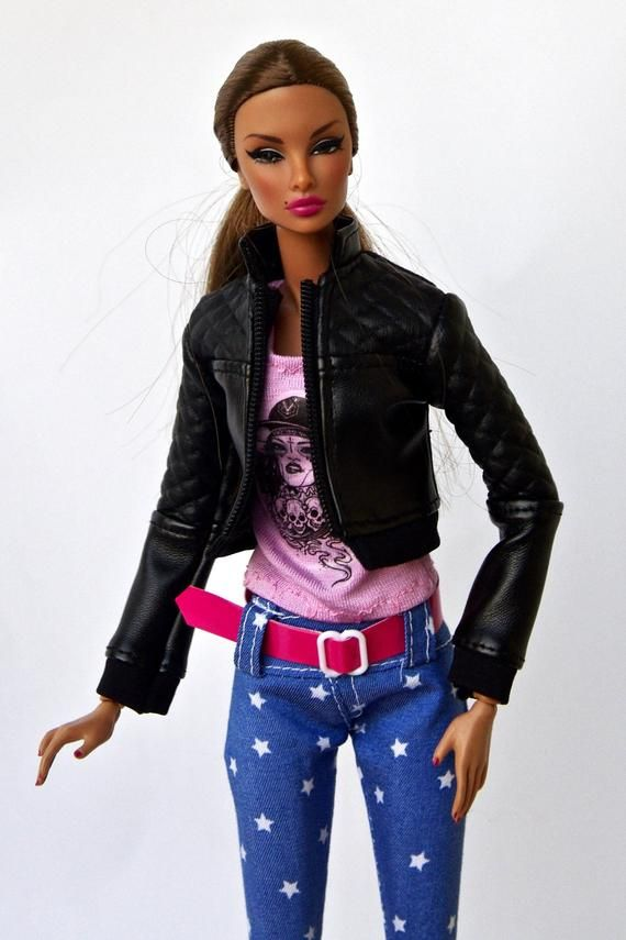 bd33ead4a3 Barbie clothes - Barbie leather jacket - doll clothes, Fashion Royalty doll  clothes, Poppy Parker,