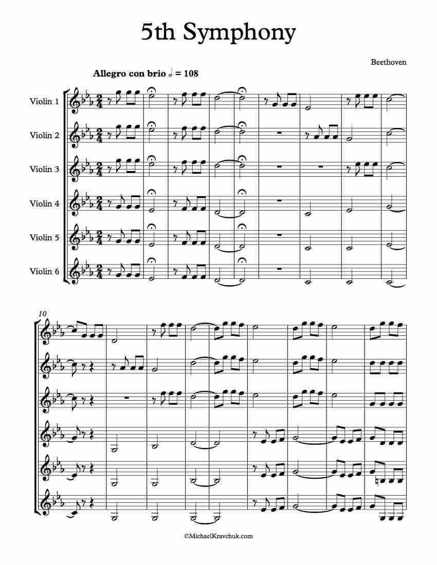 Free Violin Sheet Music - Arrangement For 6 Violins - Beethoven's 5th  Symphony