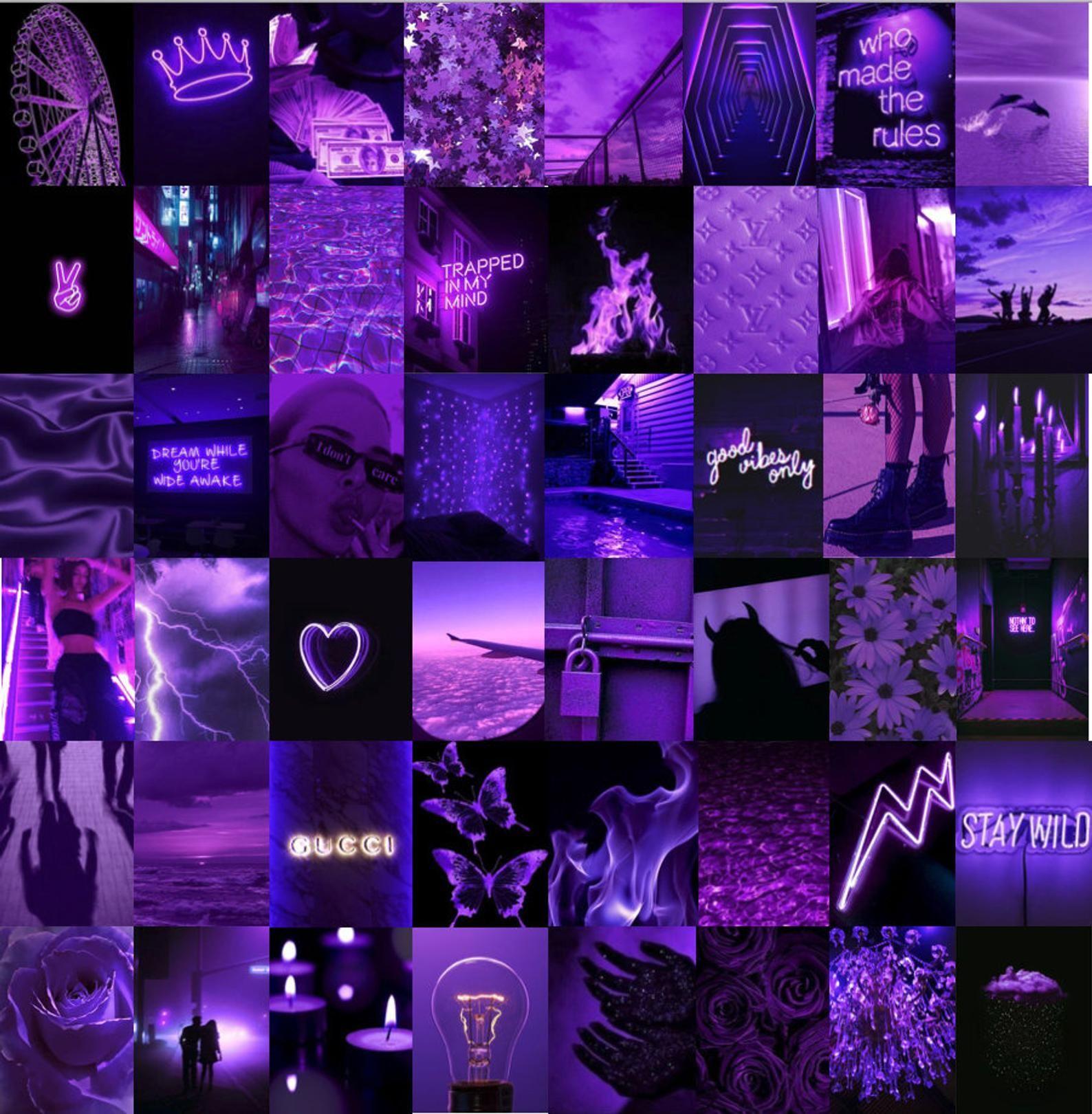 Neon Purple Aesthetic Photo Wall Collage Kit Etsy Morado Fluorescente Hacer Fondos De Pantalla Fondos De Pantalla Morados