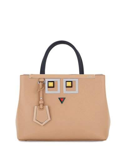 1af248a1343a FENDI 2JOURS PETITE FACES LEATHER TOTE BAG