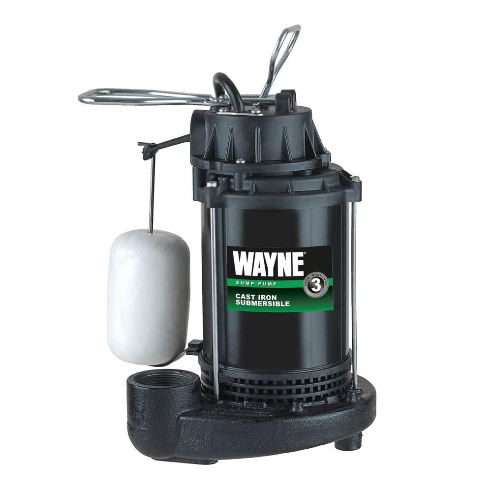 Wayne 1 3 Hp Cast Iron Submersible Sump Pump With Vertical Float