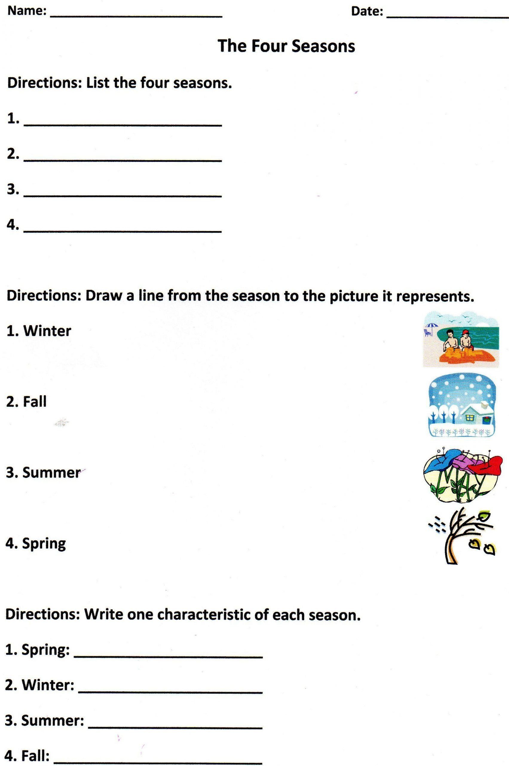Science Worksheet for 1st Grade the Four Seasons