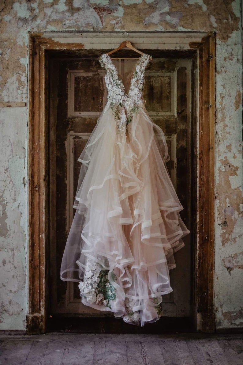 Ivory/blush pink bridal floral dress Inga Ezergale