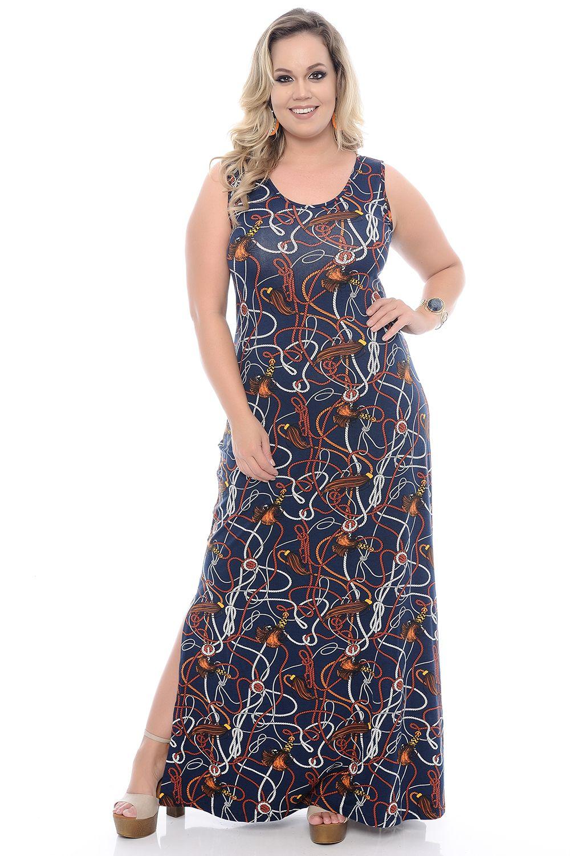 6bb57b53255633 Vestido Longo Estampado Plus Size - Chic e Elegante | dress em 2019 ...