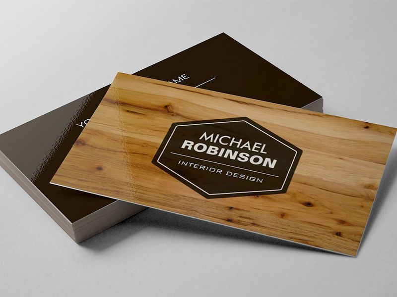 Construction manager modern wood grain look business card
