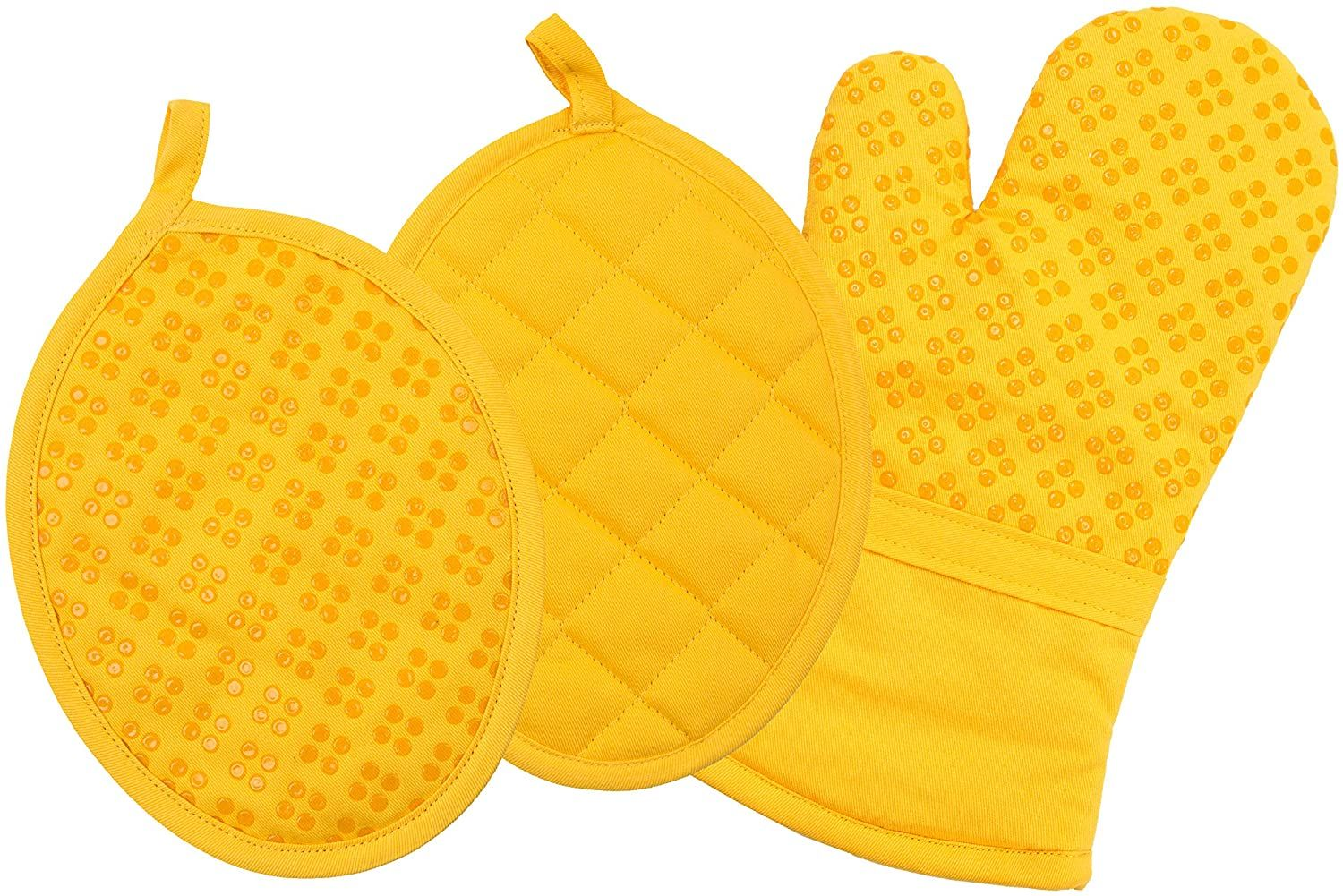 Photo of Sticky Toffee Printed Silicone Oven Mitt and Pot Holders, 100% Cotton, 3 Piece Set – Yellow Silicone Printed