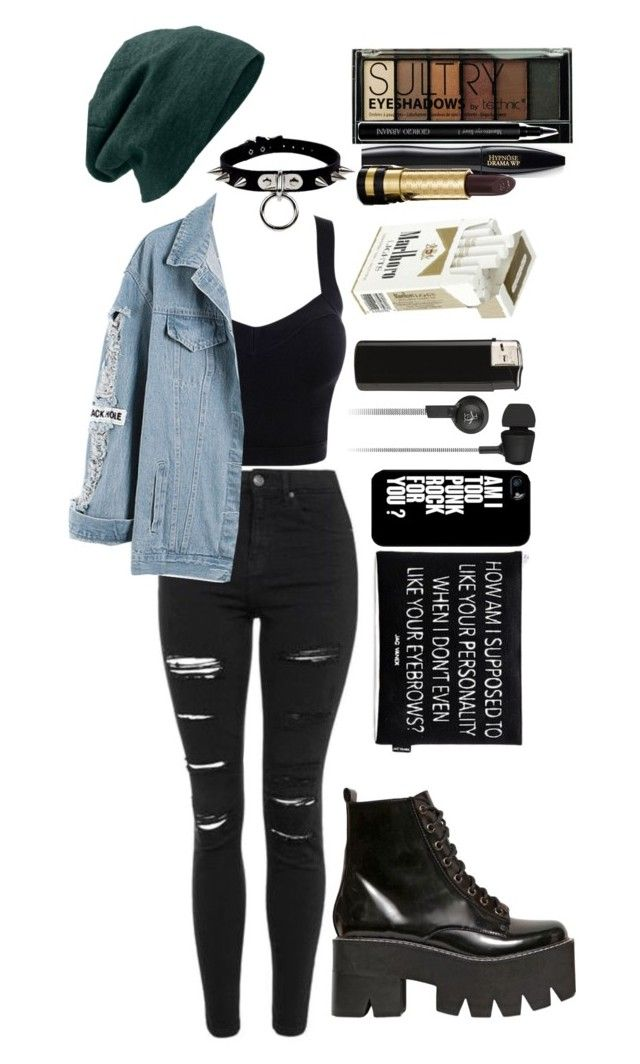 """""""am i punk rock yet? / concert outfit"""" by xkitten-pokerx ❤ liked on Polyvore featuring Boohoo, Topshop, Jac Vanek, Lancôme, Samsung, Original Penguin, Gucci, Giorgio Armani and Jeffrey Campbell"""