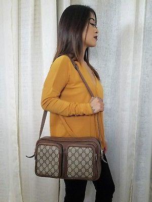 8550b9a6b4de Vintage Gucci Bag Camera Bag Shoulder Purse GG Monogram 70s Unisex ...