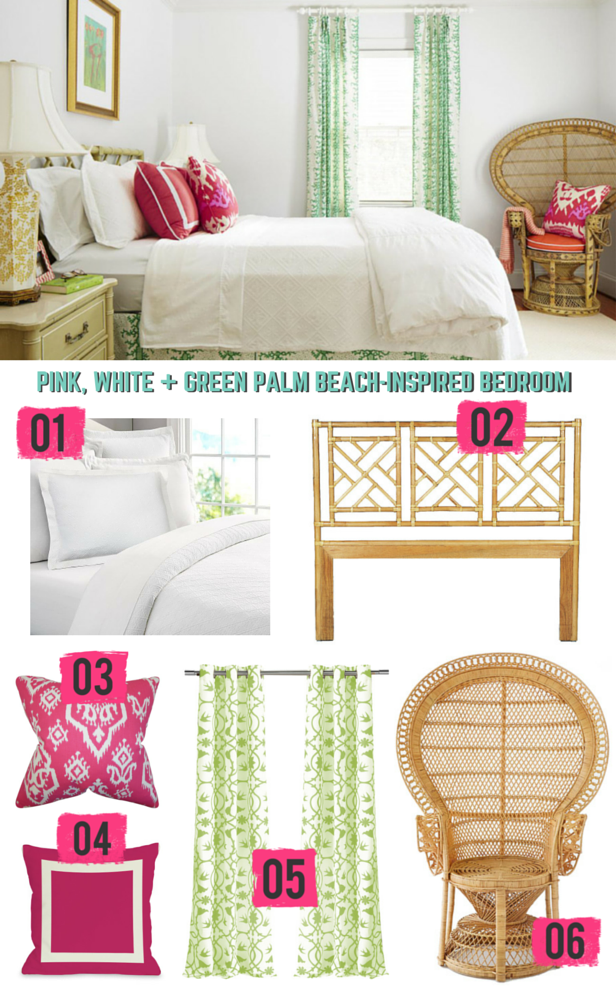 Copy the Look of This Palm Beach-Inspired Bedroom >> http://blog.hgtv.com/design/2015/06/15/copy-this-room-add-palm-beach-style-to-your-bedroom/?soc=Pinterest