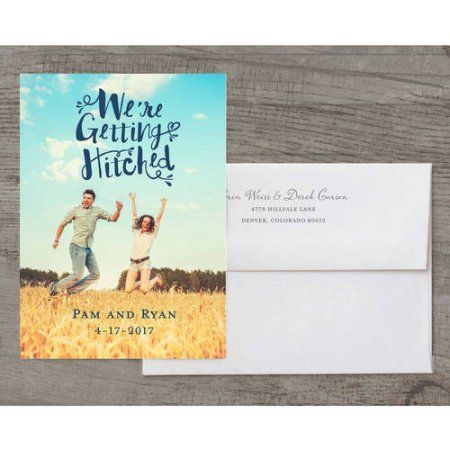 Getting Hitched Deluxe Wedding Invitation, Blue