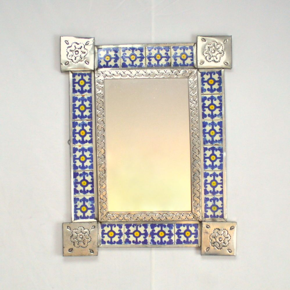 Vtg Hand Made Tile Engraved Metal Trim Moroccan Decorative Mirror ...