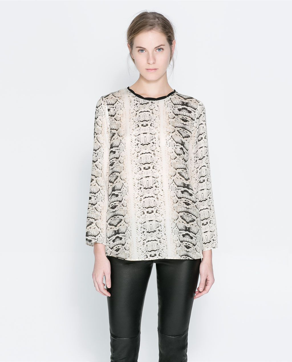 aaa3989d Image 1 of COMBINED PRINTED BLOUSE from Zara | Style | Tunic tops ...