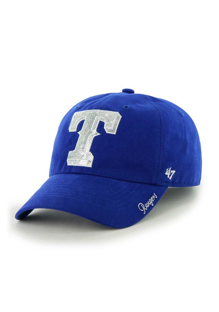 info for fd172 14157 Texas Rangers Womens Royal Sparkle Adjustable Hat http   www.rallyhouse.com