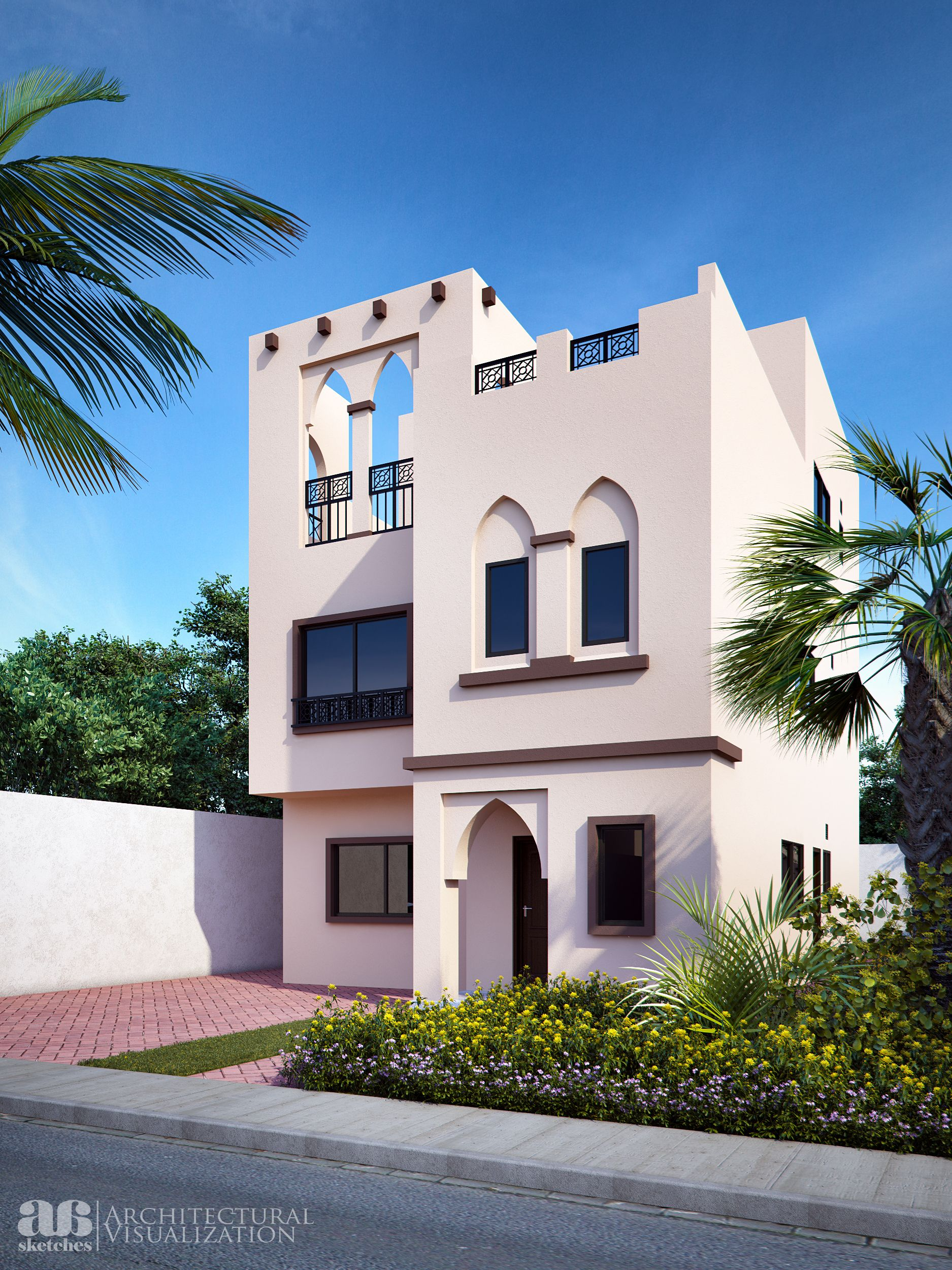 Proposed 3d photo rendering of arabic style villa villa for Arabic home design