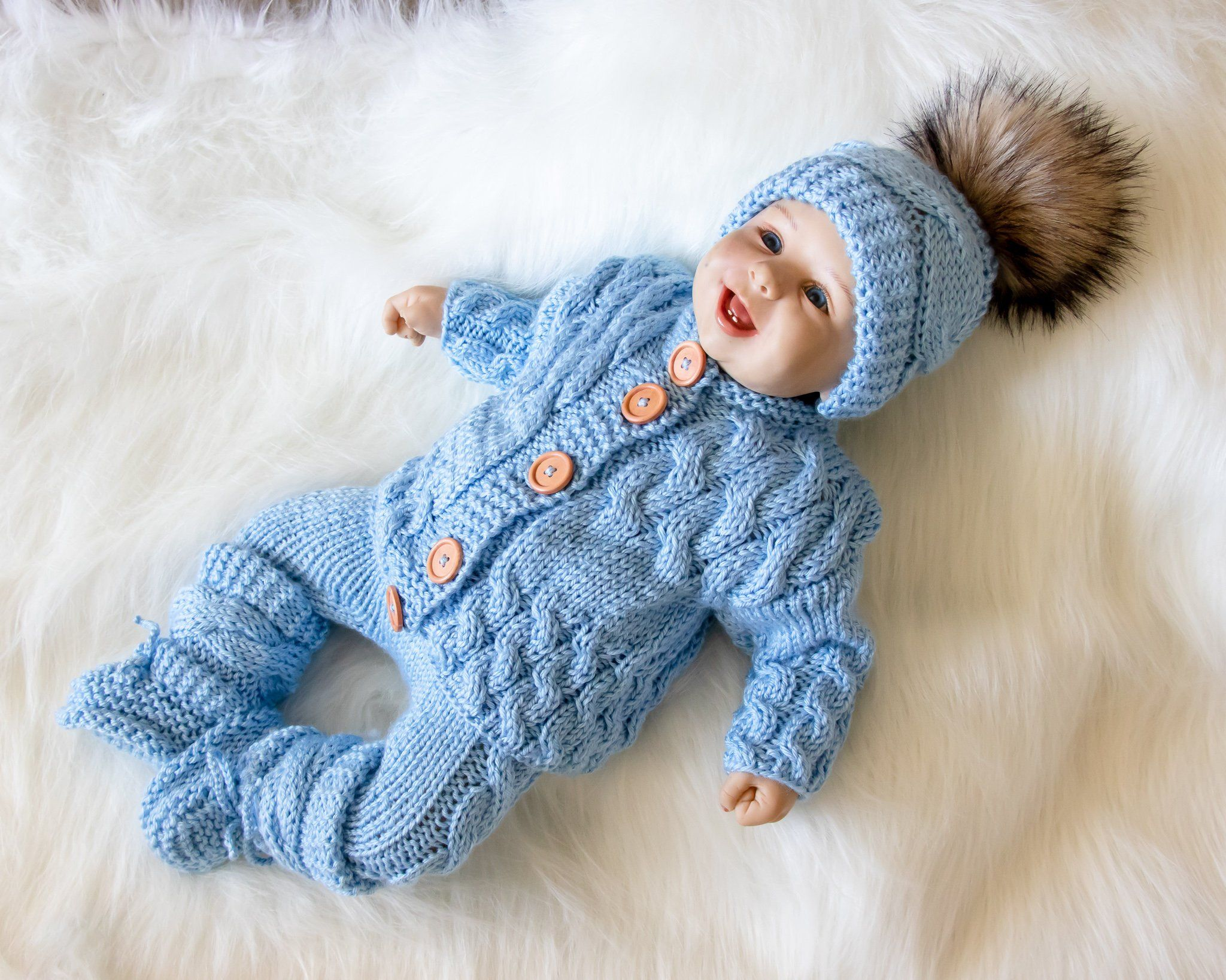 0 3 Months Baby Boy Coming Home Outfit Blue Outfit Hand Knit Etsy Newborn Boy Clothes Knitted Baby Clothes Baby Overalls