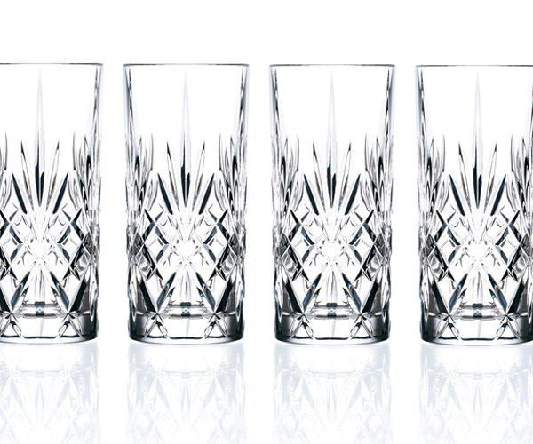 Lorren Home Trends Crystal Melodia Collection High Ball Glass Set of ...