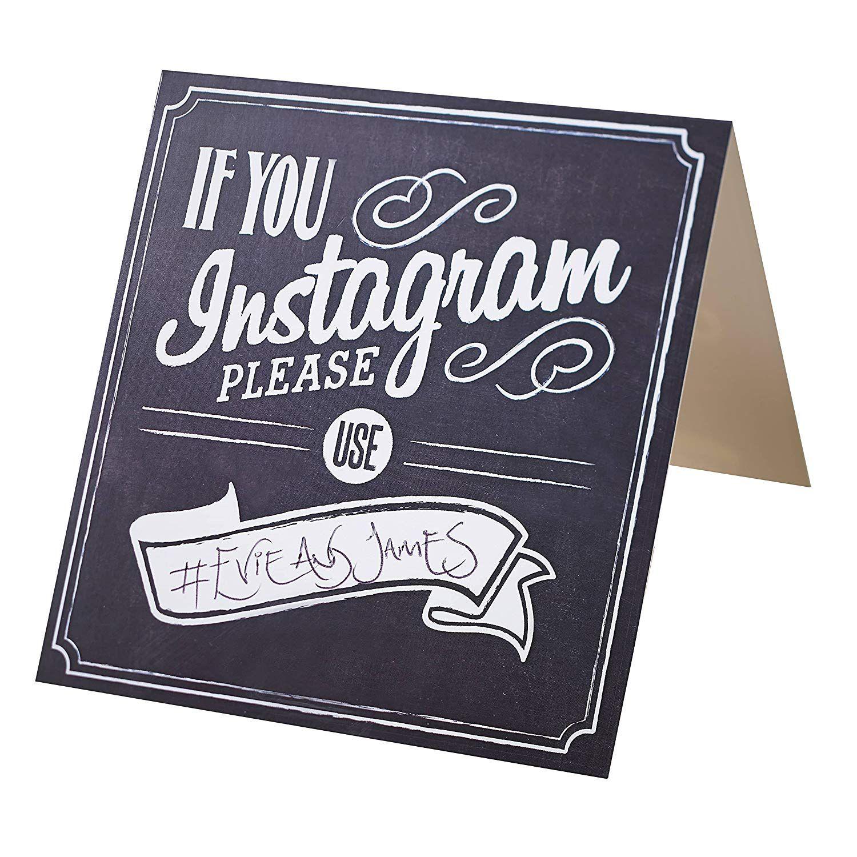 William & Douglas Instagram Hashtag Table Sign
