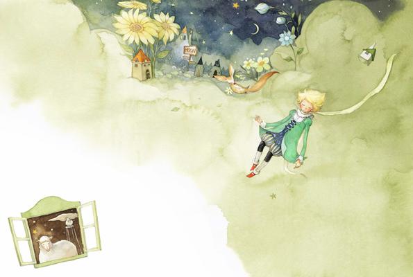 As ilustrações Pequeno Príncipe por Kim Min Ji.  Curiosidade: O Pequeno Príncipe fez um impacto maior sobre mim do que qualquer coisa que eu já li.  Há uma história aqui, mas não um para 03h30.