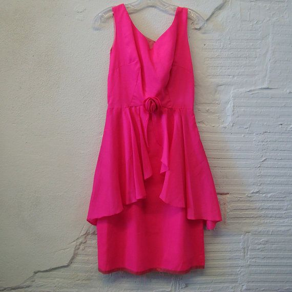 Vintage Peplum Dress 1960s Hot Pink Chiffon by purevintageclothing, $34.00