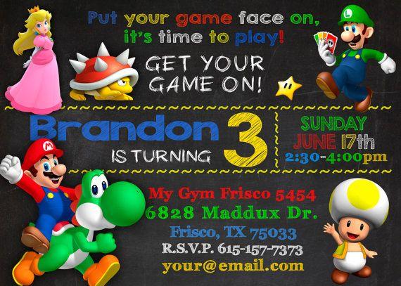 SUPER MARIO BROS Super Mario Invitation Mario Kart invitation