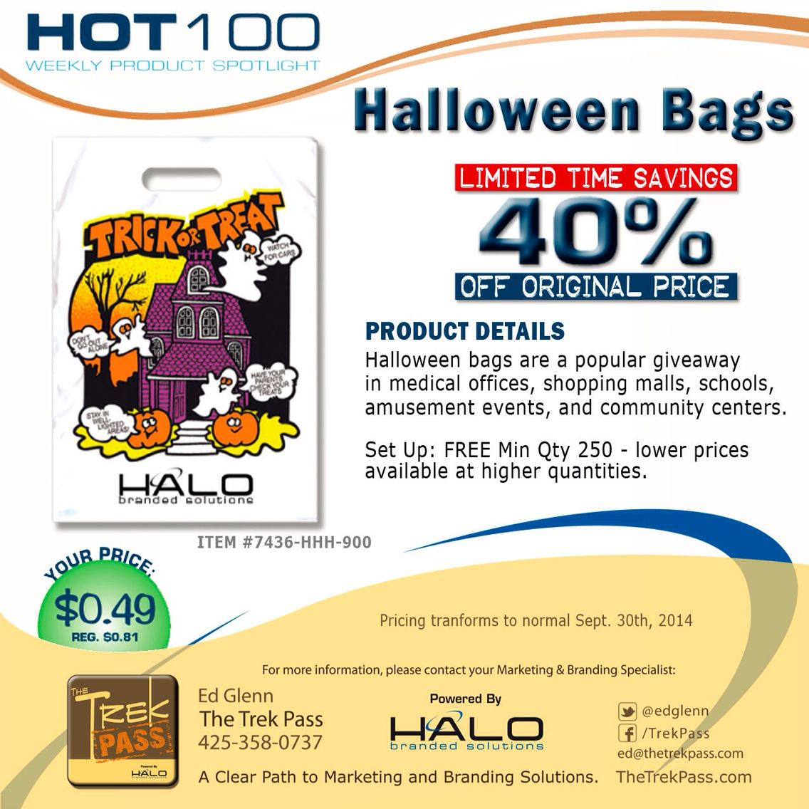 Get ready for Trick-or-Treat with custom imprinted Haunted House Halloween Bags. Great for medical offices, shopping malls, community centers, amusement events, and schools. Add a discount coupon for your company's goods and services to each bag handed out as a 'treat' to Mom and Dad.  #promoproducts #branding #promotionalproducts #holiday #marketing #incentives #advertising #giveaway #adspecialties #sale #bestseller #bag #trickortreat #Halobrandedsolutions