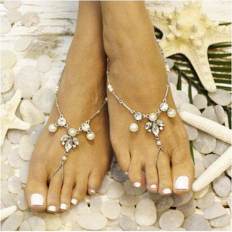 9b59279c679d3e Delicate silver and pearl handmade barefoot sandals. One of a kind design. Catherine  Cole Studio beautiful barefoot sandals are very elegant and your bridal ...