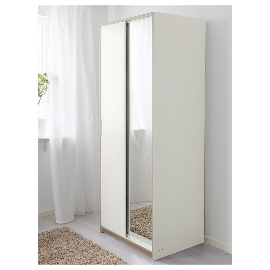 Trysil Kledingkast Wit Spiegelglas 79x61x202 Cm In 2020 Spiegelglas Ikea Kledingkast Spiegeldeur