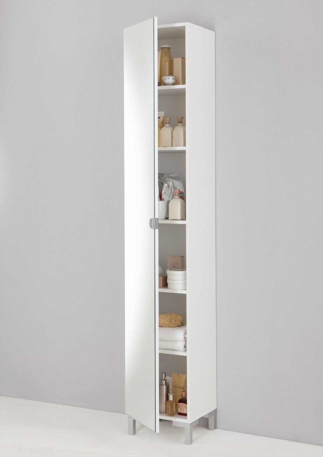 Tarra Floor Standing Tall Cabinet Tallboy In White Finish With Mirror Door Co Uk Kitchen Home
