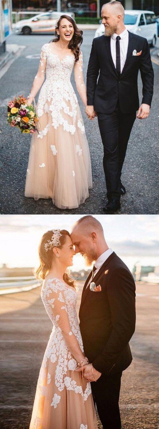 Aline floorlength scoop long sleeves tulle prom dress with
