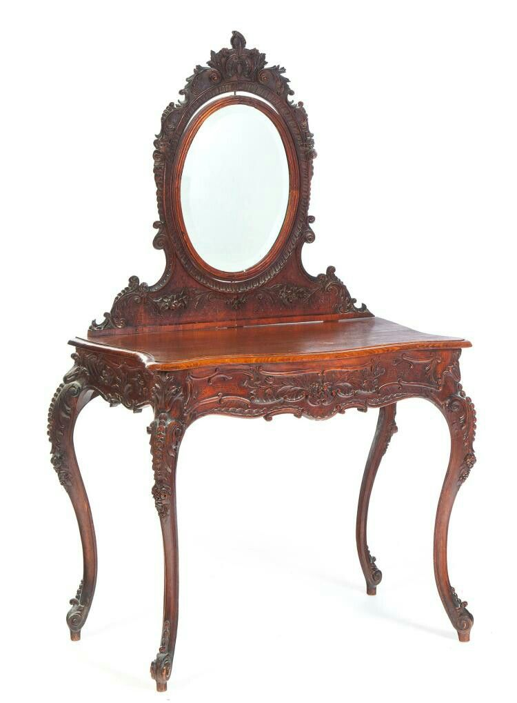 Heavily Carved Late Victorian Dressing Table European 19th Century