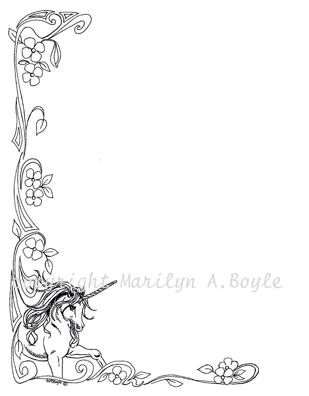 DIGITAL UNICORN BORDER; prancing, fantasy, from original