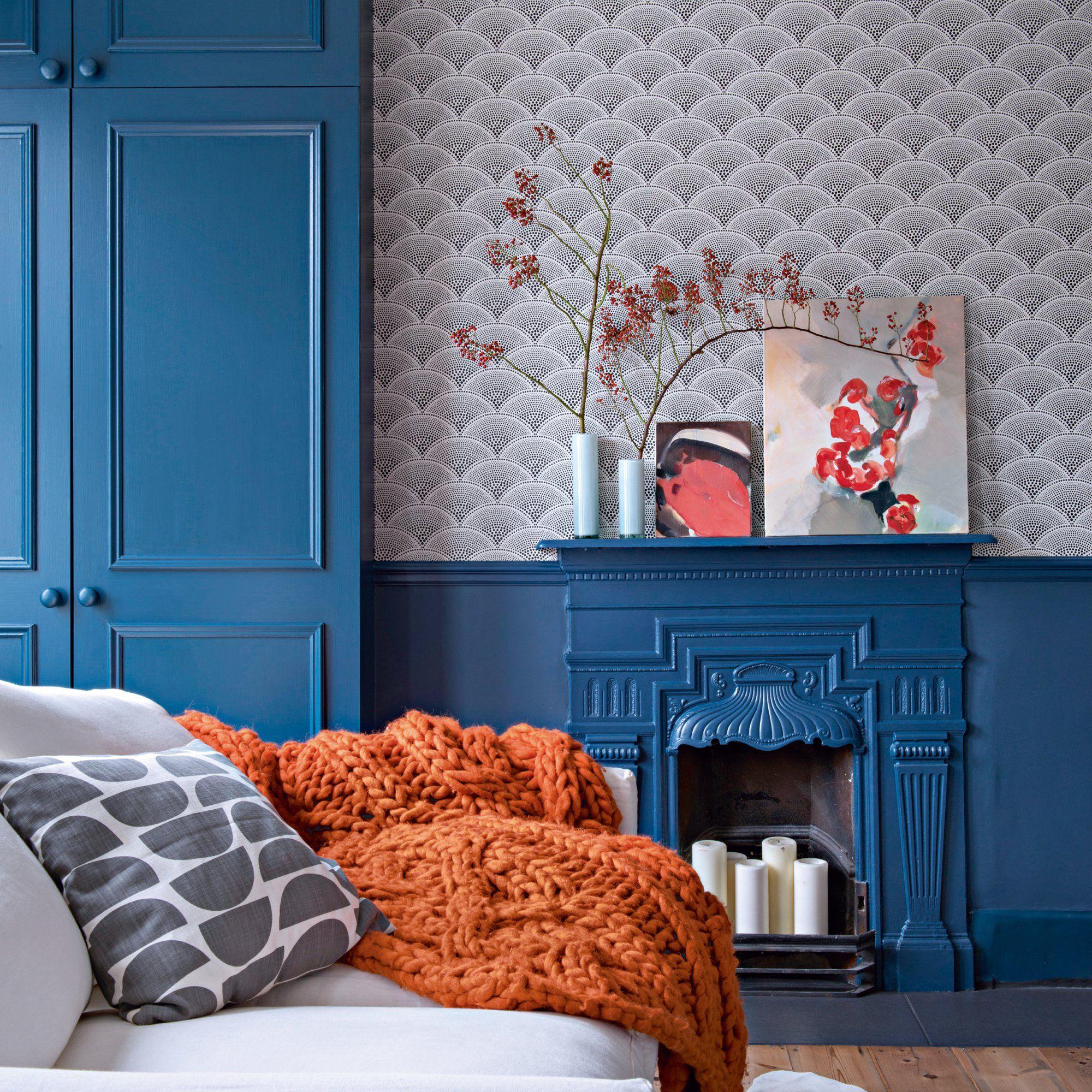Salon bleu : nos plus belles inspirations   Papier peint, Salon bleu et Couleur intérieure