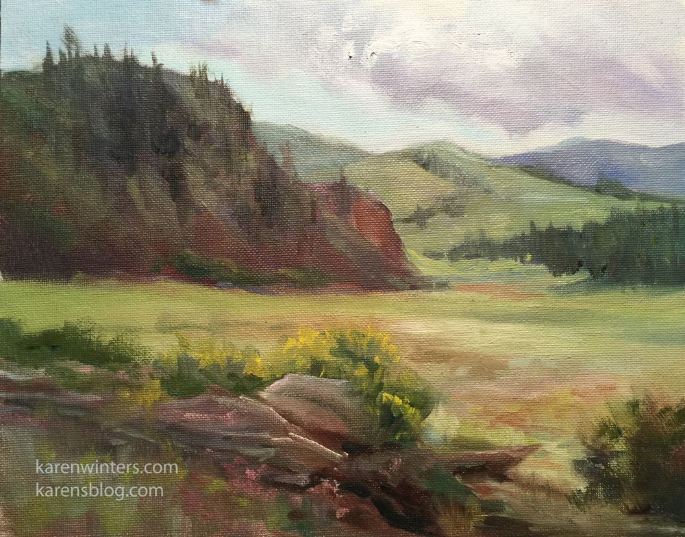 """Colorado plein air landscape painting """"Cloudy Day in"""
