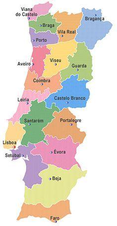 Mapa De Distritos De Portugal Roteiro De Viagem Portugal