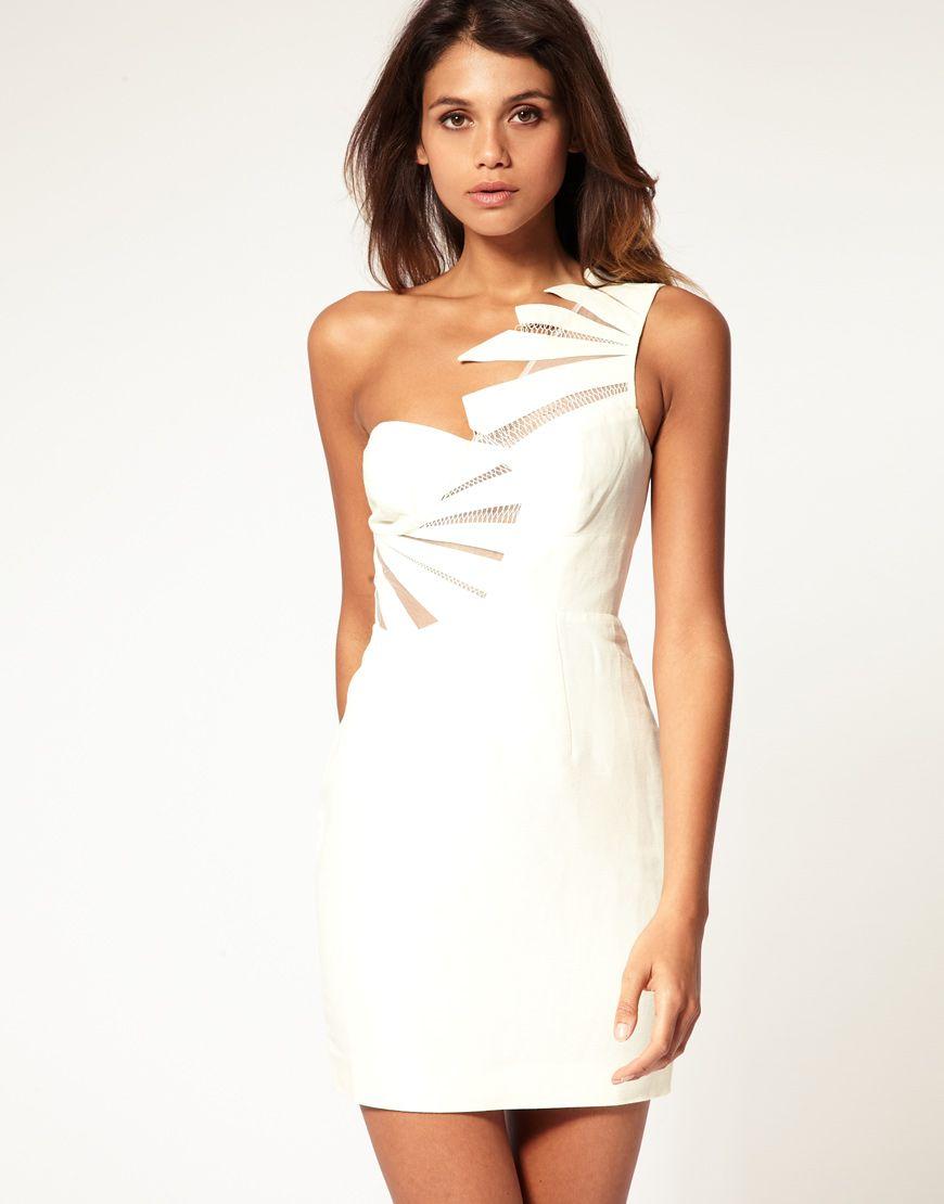 Asos Asos One Shoulder Mini Dress With Cut Away Panelling At Asos