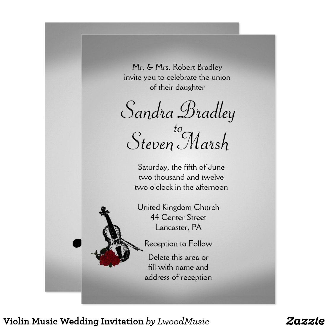Violin Music Wedding Invitation  Zazzle.com  Music wedding