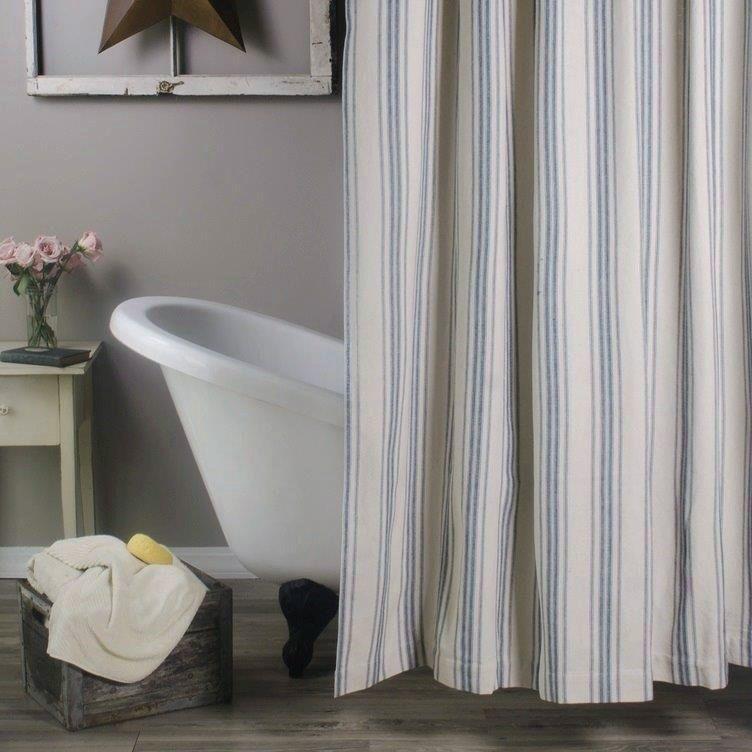 Grain Sack Blue Stripe Shower Curtain With Images Country Style Shower Curtain Striped Shower Curtains Farmhouse Bathroom Decor