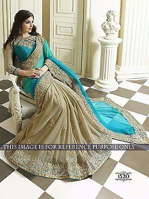 Partywear Sari Bollywood Saree Wedding Reception Heavy Designer