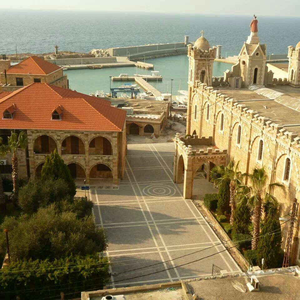 St Stephan Cathedral and Batroun fishing port, Batroun District, North Governorate, Lebanon