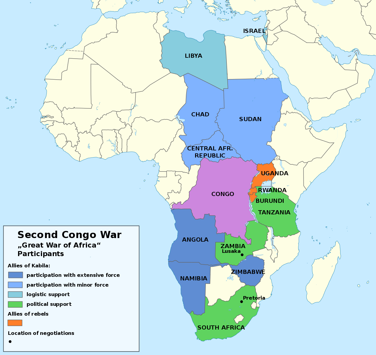 Map Of All Participants In The Second Congo War Known As The Great African War Or African World War That Happened From 1998 To 2003 Africa Map Congo Africa
