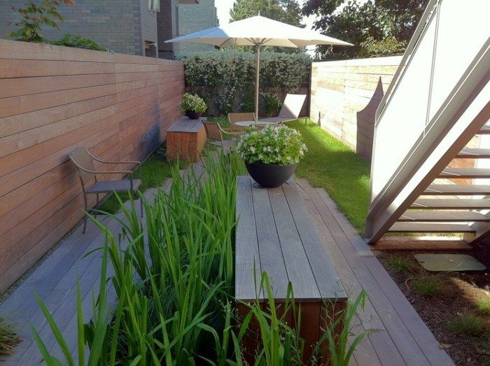 enger Hinterhof mit Holz-Sitzbank und Essplatz   Garten   Pinterest ...