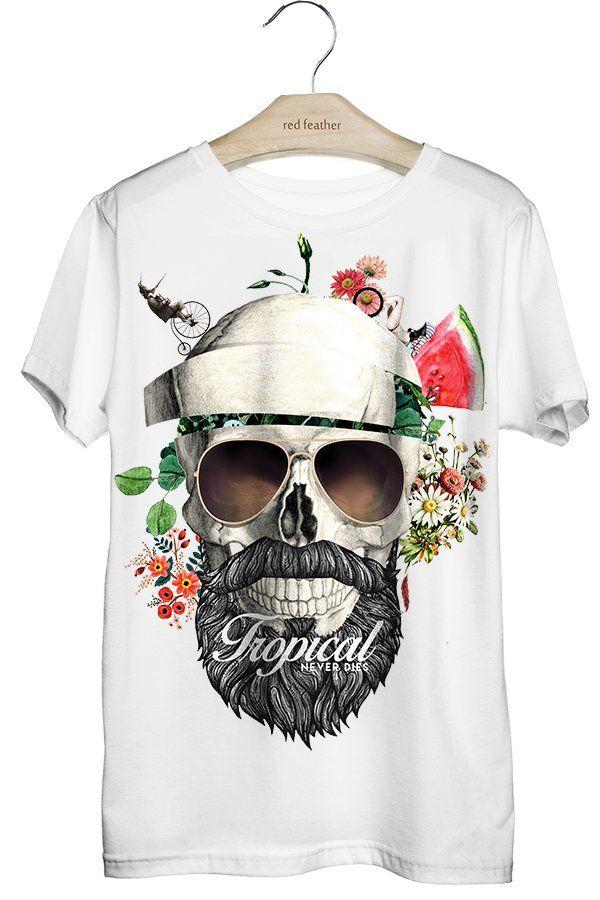 Camiseta Masculina Caveira Tropical  d2b7af3e893