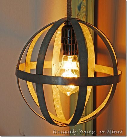 How to make an industrial looking galvanized globe pendant light, with jute wrapped wire