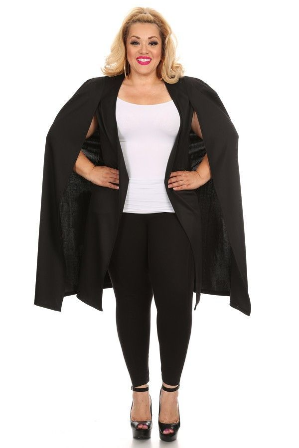 Black cape jacket plus size