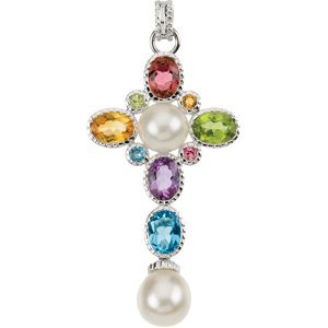 14K White Gold 44.50x24.75mm Polished Multi-Gemstone and 8.0-9.0mm Pearl Cross
