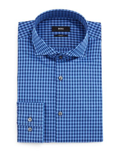 Shop Jason Gingham Slim-Fit Dress Shirt, Blue from BOSS at Neiman Marcus  Last Call, where you'll save as much as on designer fashions.
