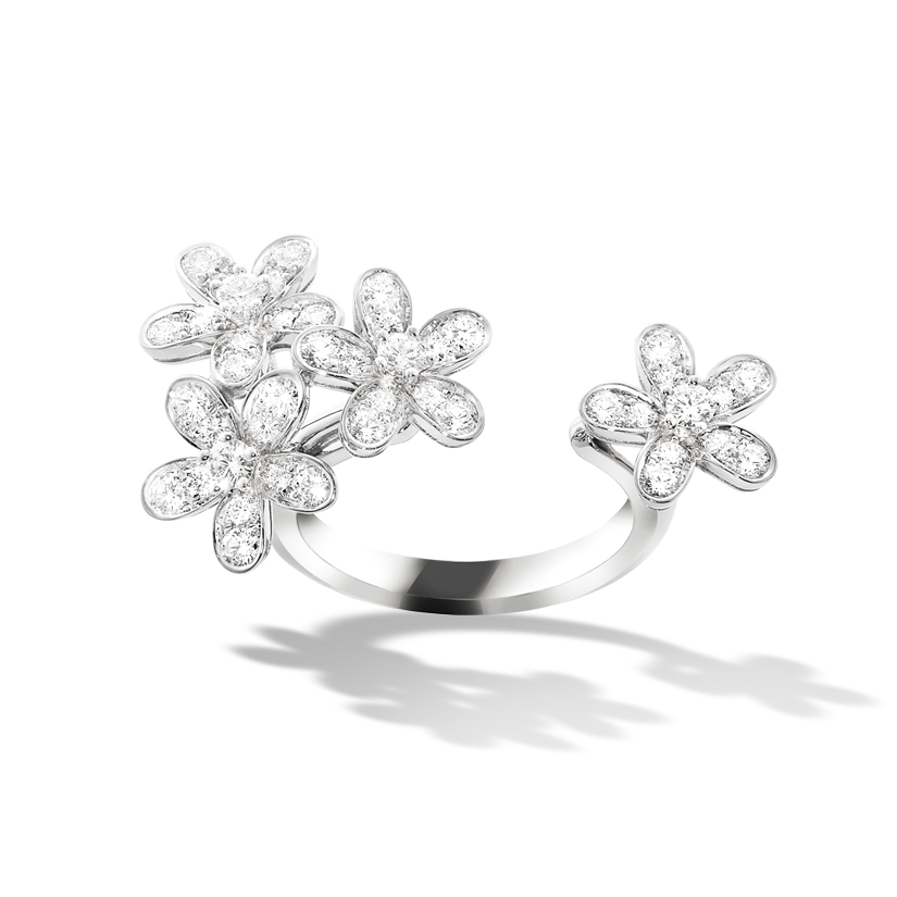 Inspired by the luxuriant blossom of the hemlock flower, the Socrate collection features alluringly asymmetrical designs. Blossom peeks from between the fingers in a feminine ring of white gold set with diamonds. Van Cleef & Arpels has reinvented a highly unusual way of wearing a ring: weightlessly…