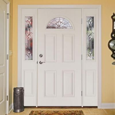 Feather River Doors 63.5 in. x 81.625 in. Medina Zinc Fan Lite Unfinished Smooth Right-Hand Fiberglass Prehung Front Door with Sidelites-432105-3A1 - The ... & Feather River Doors 63.5 in. x 81.625 in. Medina Zinc Fan Lite ...