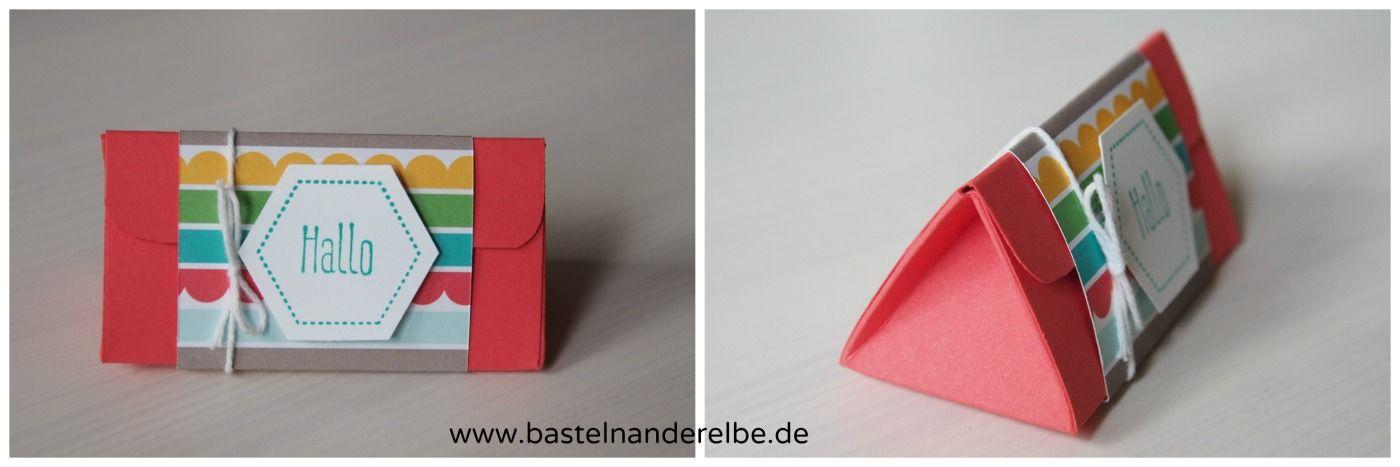 basteln an der Elbe, Dreiecksbox, triangle box, Anleitung